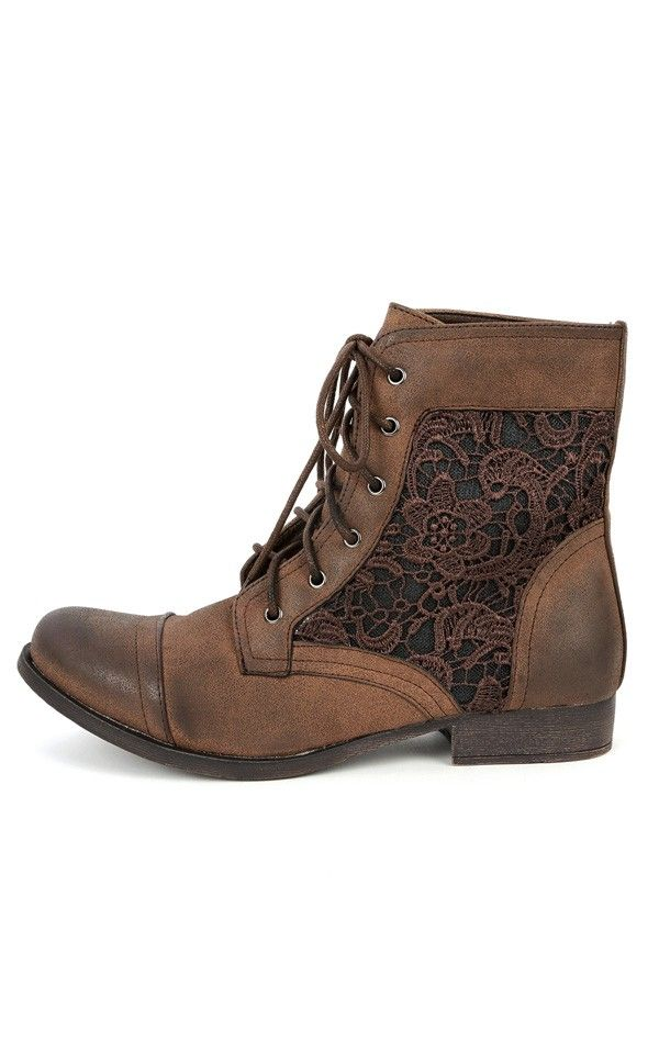 brown lace inset ankle boots. Oh my.
