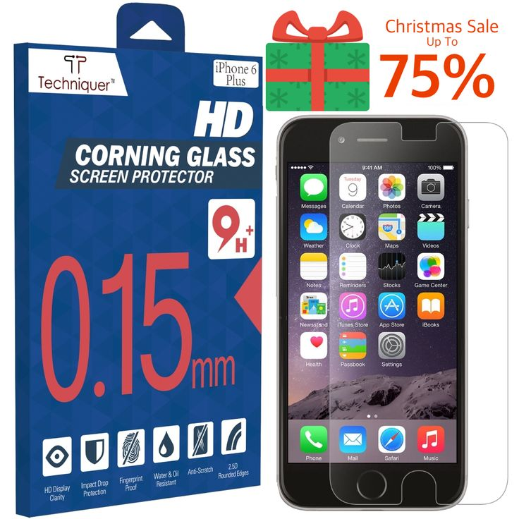 """Christmas Sale! Up to 75% Off: iPhone 6 Plus Corning Gorilla Tempered Glass Screen Protector Kit[5.5""""] ONLY 0.15mm, 9H, Oleophobic Surface, 2.5D, Anti-Scratch, Anti-Glare, Fingerprint-Proof,& Water Resistant. Only at Amazon: http://www.amazon.com/iPhone-Tempered-Screen-Protector-Thinnest/dp/B00RK7YIEA"""