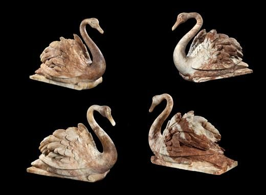 A SET OF FOUR CARVED ALABASTER SWANS SECOND QUARTER 17TH CENTURY Attributed to Nicholas Stone (1586-1647)