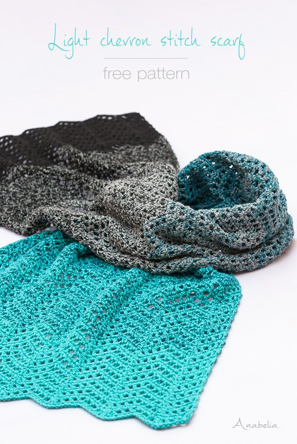 """This chevron stitch is as light so that one skein is enough for making this crochet scarf I finished a couple of weeks ago. So this is """"one skein crochet project"""". Find Free Pattern below! Esta puntad"""