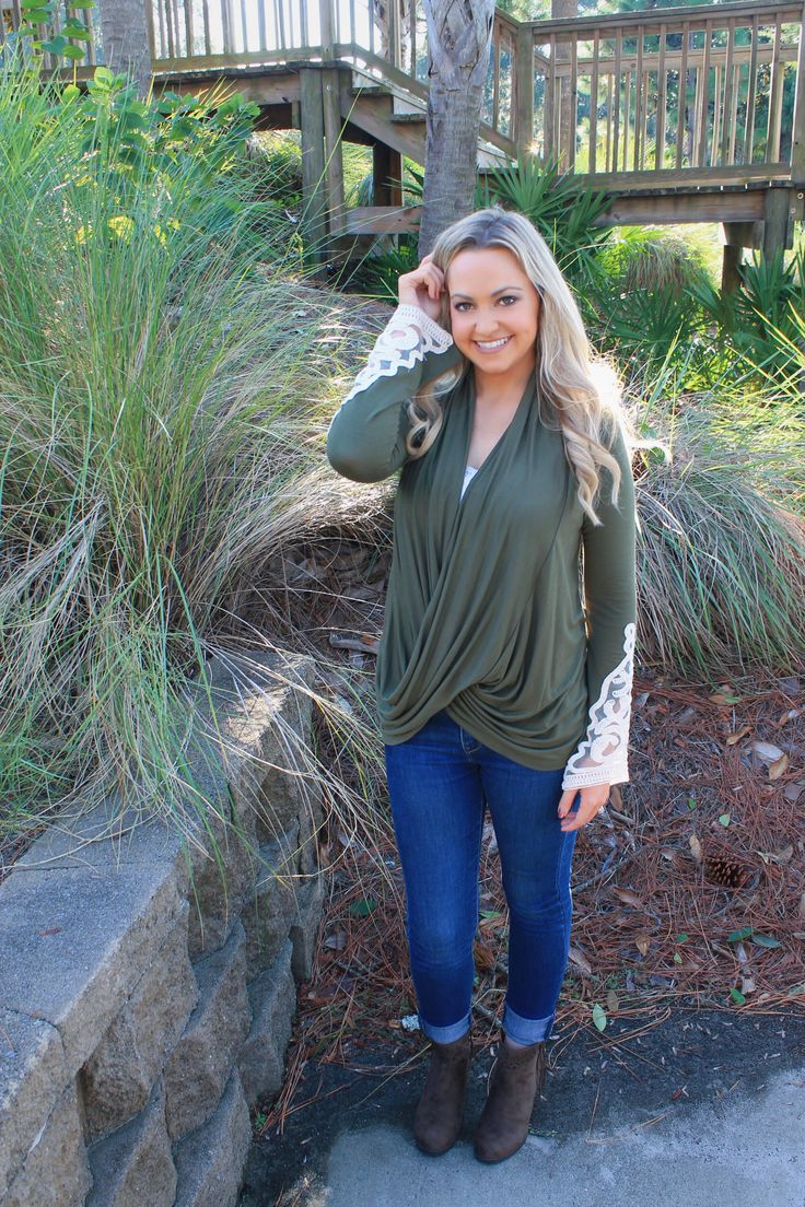 Red Dress Boutique Olive Green Lace Shirt