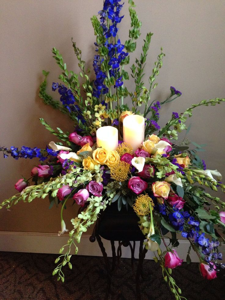 Funeral Flowers with Candles | Lighted candle casket spray