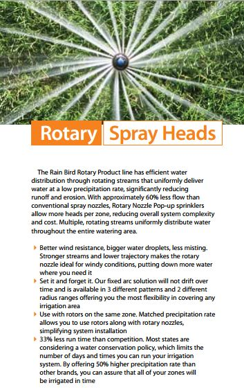 Rotary Spray Head sprinklers from Rainbird. Contact Heritagelawnskc.com for installation and maintenance for your lawn.