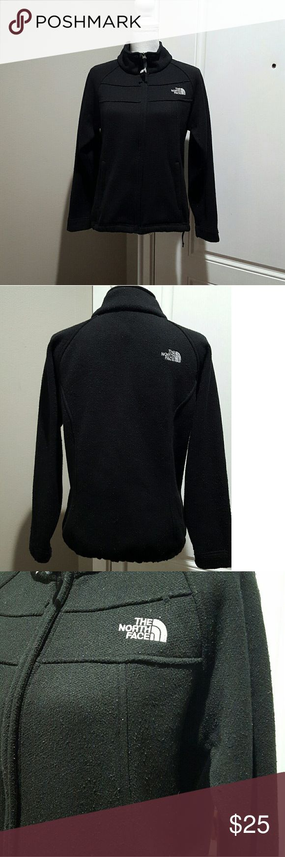 Women's black The North Face zip up, medium Women's black The North Face zip up jacket.  No stains or rares, has a lot of fuzzies though. North Face Tops Sweatshirts & Hoodies