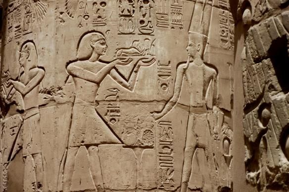 Hieroglyphs on Karnak Temple Pillar