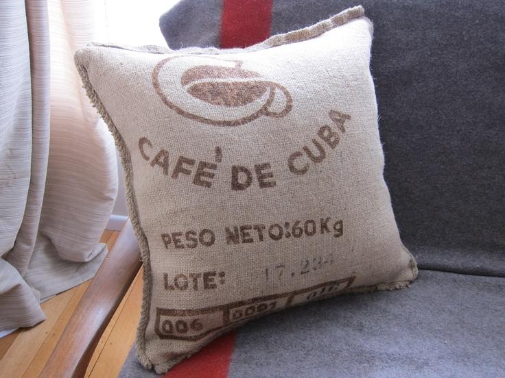Large Coffee Bean Sacking Cushions   http://whiterhino.felt.co.nz