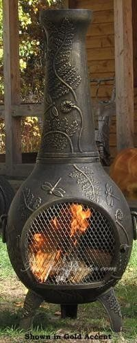 Chiminea Outdoor Fireplace - Blue Rooster ALCH014-GA - Dragonfly Chiminea Outdoor Fireplace - Gold Accent by Blue Rooster. Decorative Removable Rain Lid. Non-Rusting Solid Cast Aluminum Alloy. Safe Single Opening Traditional Chiminea. Image May Vary - Please See Product Title for Actual Size and Color!. Detailed Dragonfly and Fern Design. Spend hours enjoying the fire while dragonflies flutter through the fern leaves. Perfect for backyard gatherings, the Gold Ac...