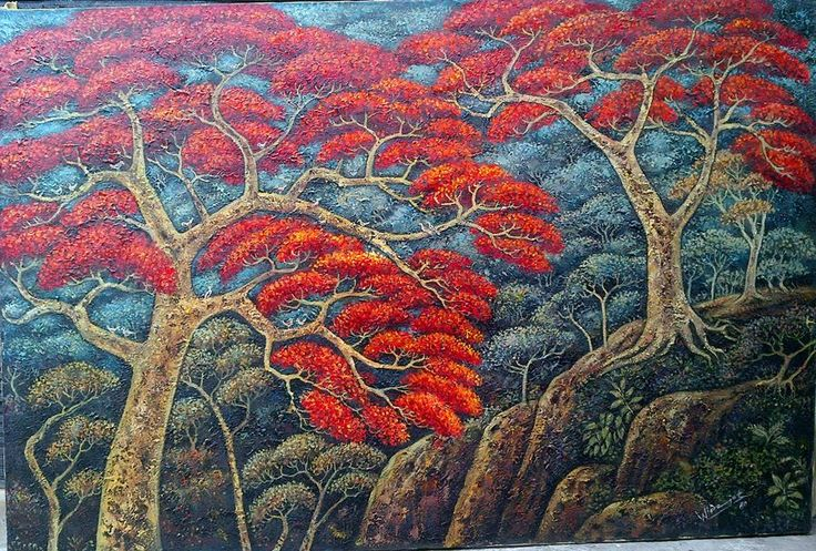 New stock on March 2017   Forest in Indonesia, oil on canvas, 100 x 150 cm