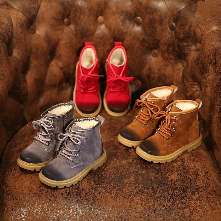 New Winter Shoes Wholesale Boys Girls Velvet Cotton Boots Kids Fashion Snow Boots Waterproof Ankle Martin Boots Brown Red and Gr on Aliexpress.com | Alibaba Group
