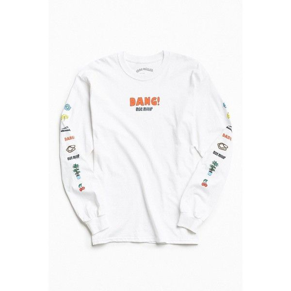 Mac Miller Long Sleeve Tee ($38) ❤ liked on Polyvore featuring men's fashion, men's clothing, men's shirts, men's t-shirts, mens long sleeve cotton t shirts, urban outfitters mens shirts, mens french cuff shirts, mens long sleeve cotton shirts and mens longsleeve shirts