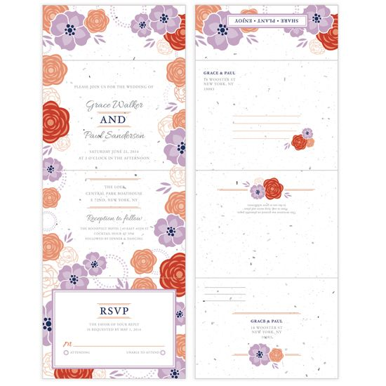 fun colorful and flowing with flowers the bloom seal and send wedding invitations are - Seal And Send Wedding Invitations