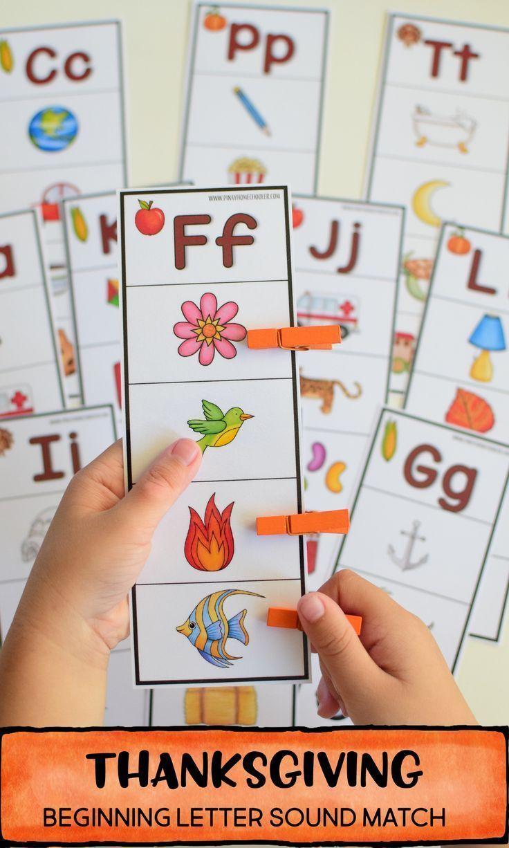 Thanksgiving Mini Unit Preschool Pack. Beginning sound picture match #preschool …   – Baby