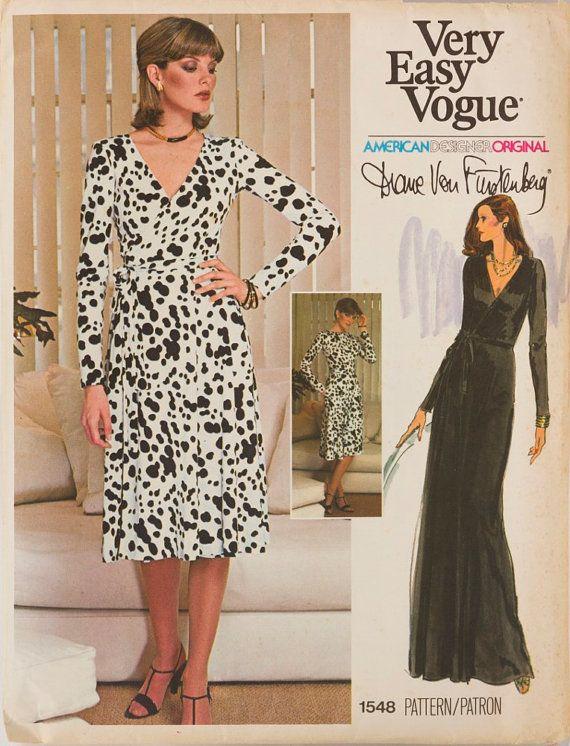 vintage vogue am ricain 1548 original design diane von furstenberg couture patron original wrap. Black Bedroom Furniture Sets. Home Design Ideas