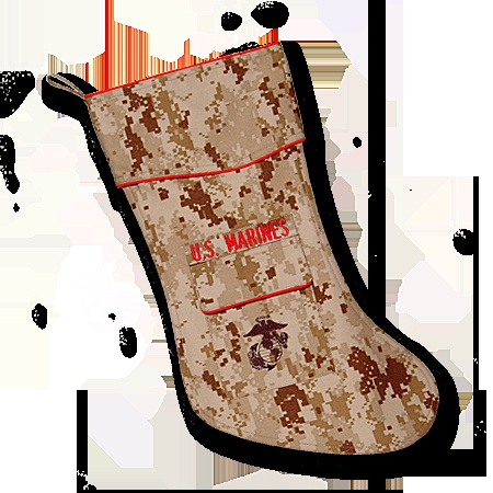 US MARINES Christmas Stocking - The Marine Christmas stocking is designed to become a special keepsake of Marines, former Marines, family and friends who love the Marine Corps. Permission was granted by the Marine Corps to allow the use of the Eagle, Globe and Anchor emblem embroidered on the pocket. The attention to detail is outstanding.  http://www.starsandstripesproducts.com/us-marines-christmas-stocking/