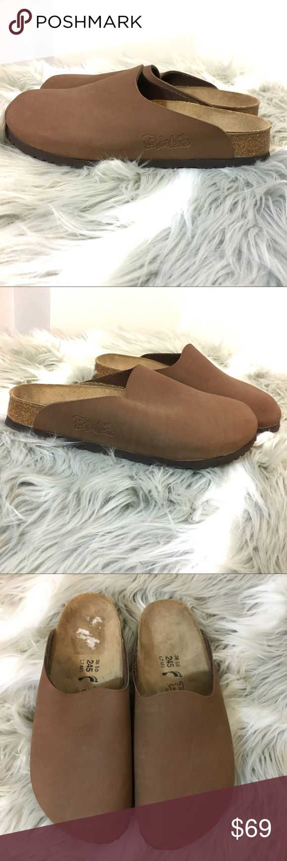 Birkis Birkenstock clogs Birkenstock Birkis Brown Clogs Size 38 or a women's US size 7 (posh's  international size chart is off please look at the shoe it says L7 which is a ladies 7) worn twice!!! Like new, these are the rubbery top kind Birkenstock Shoes Mules & Clogs