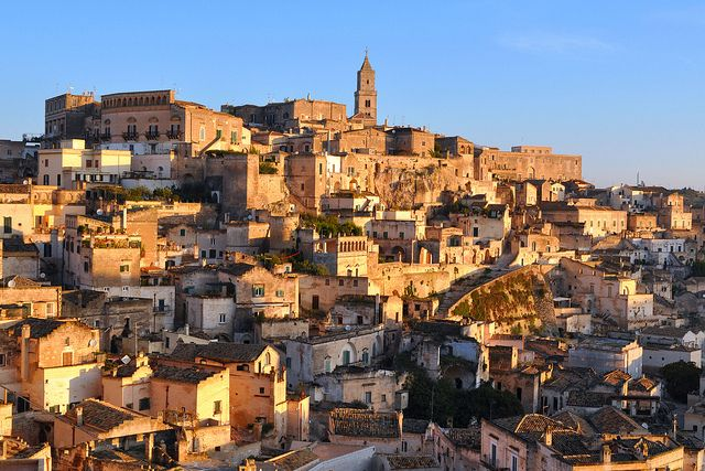 early morning sunrise, matera, basilicata, italy.