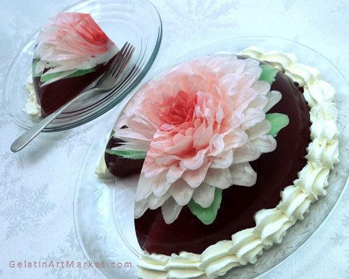 Gelatin art flower cake easy instructions. Learn cake decorating with gelatin art flowers.