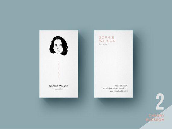 Custom Portrait Business Cards Vertical Digital File Only Etsy Carta