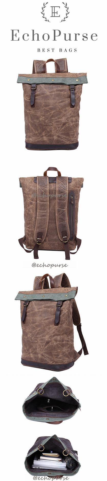 Oil Wax Leather And Canvas Backpack, Coffee Vintage Waterproof Travel Backpack YD325