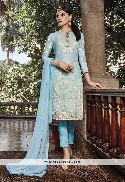 Pant Style Sky Blue Georgette Straight Cut Salwar Suit