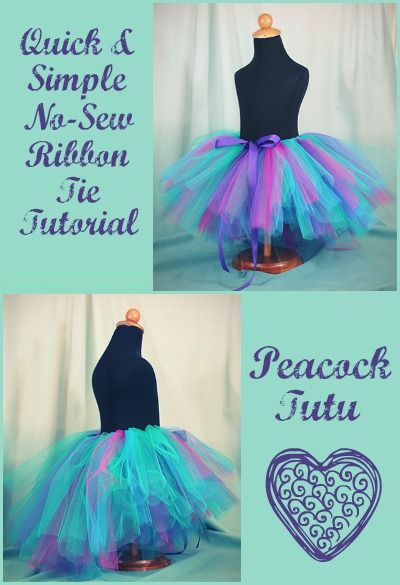 No-Sew Ribbon Tie Peacock Tutu
