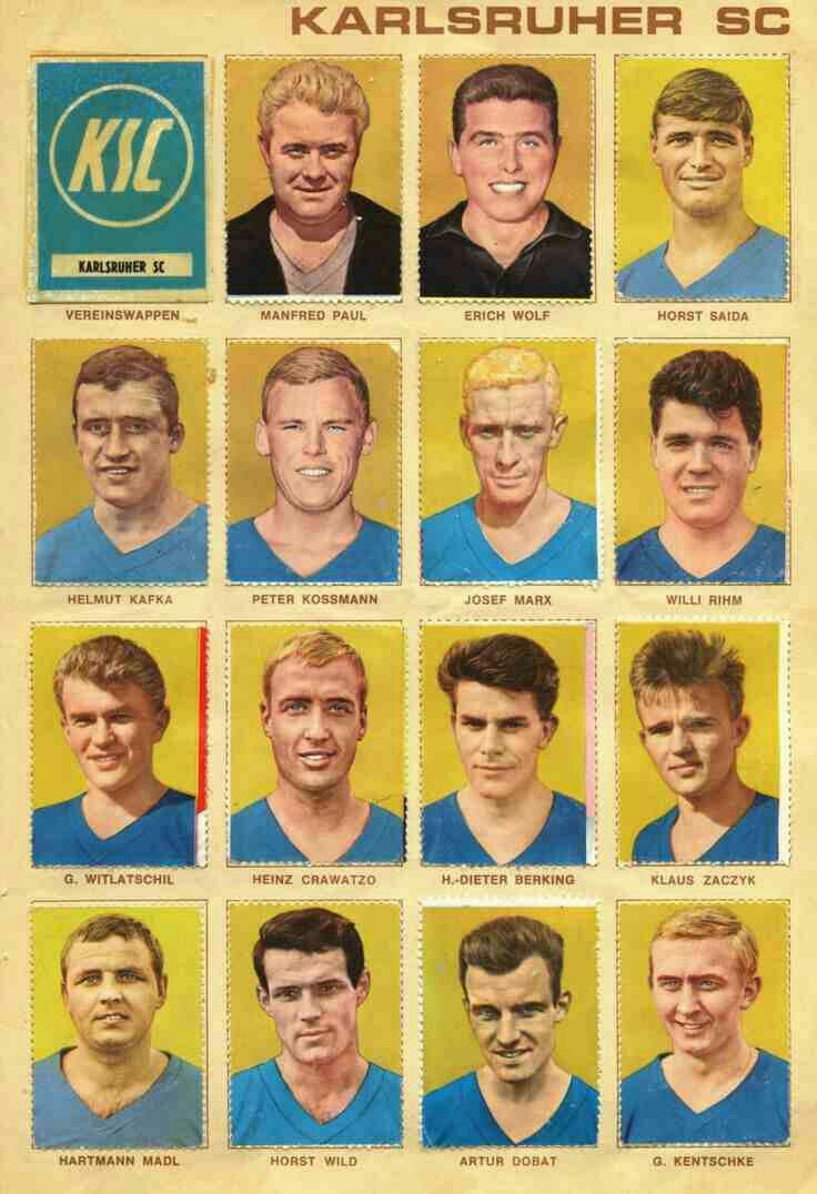 Karlsruher SC of West Germany team stickers in 1965-66.