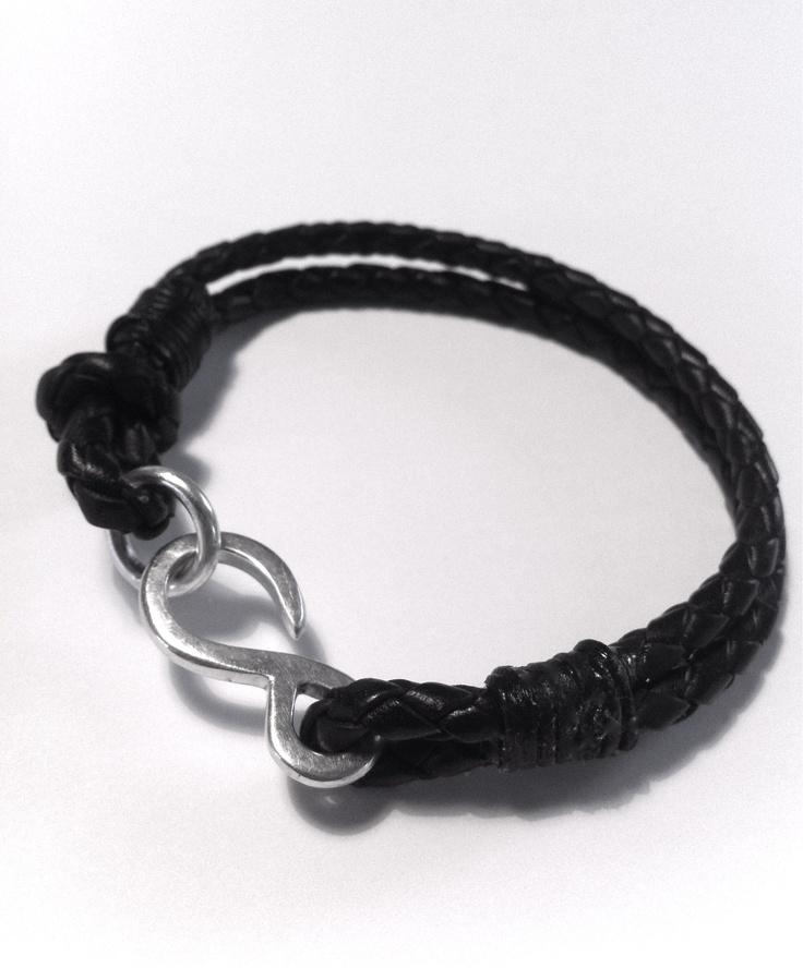 Hook Braided Bracelet. Leather & Silver.