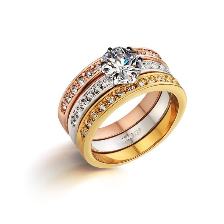 Italina מצופה זהב אמיתי תכשיטי אופנה 3 טבעות מותג חתונה סט anillos femme bague bijoux לנשים טבעות לנשים