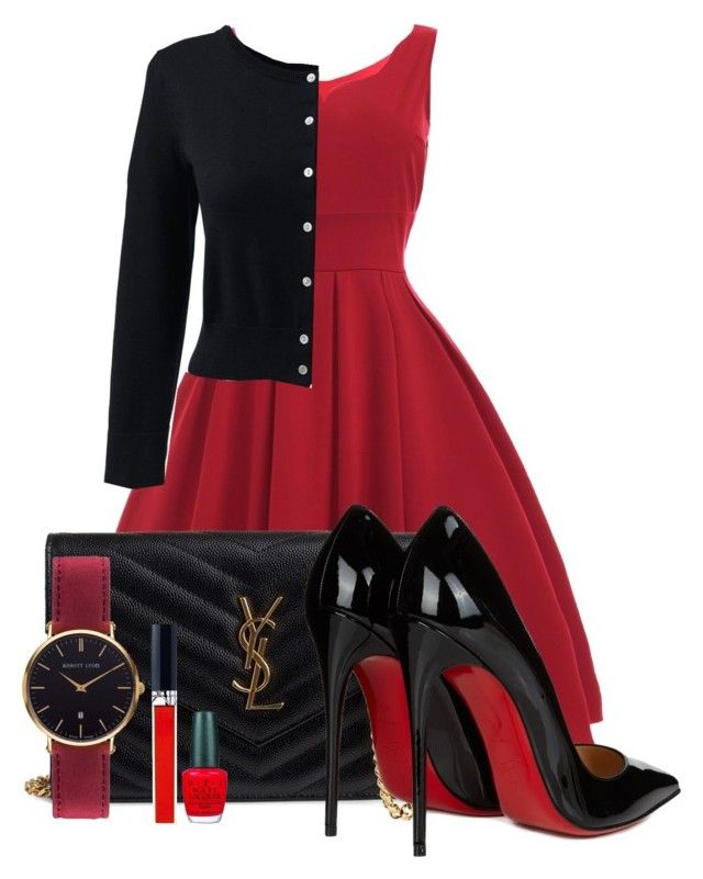 Black & Red by aquabanana on Polyvore featuring polyvore, fashion, style, Lands' End, Christian Louboutin, Yves Saint Laurent, Abbott Lyon, Christian Dior, OPI and clothing