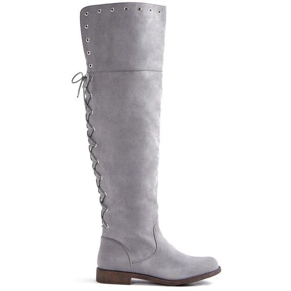 ShoeDazzle Boots - Knee Length Sarai Flat Boot Womens Gray ❤ liked on Polyvore featuring shoes, boots, boots - knee length, grey, grey over knee boots, over-the-knee flat boots, gray over the knee boots, faux suede over the knee boots and knee-high boots