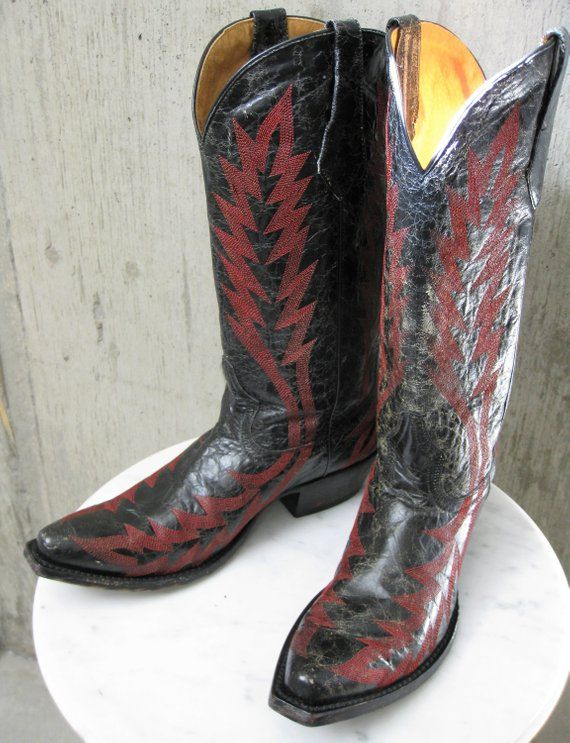 0a42d4cbb0e Johnny Ringo Cowboy Boots Black Distressed Leather Red Embroidery ...