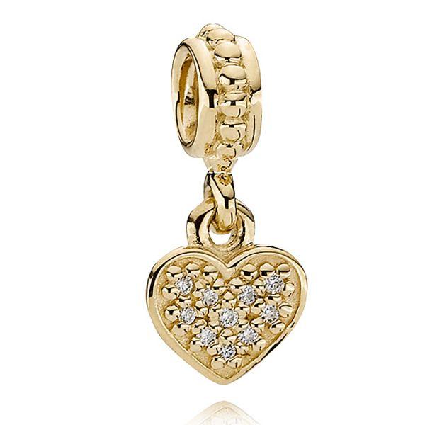 Pandora Pavé Brilliant Heart Charm in 14K yellow gold $620 #Pandora #Charm