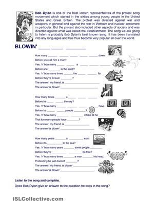 A song By Bob Dylan to practise modals - ESL worksheets