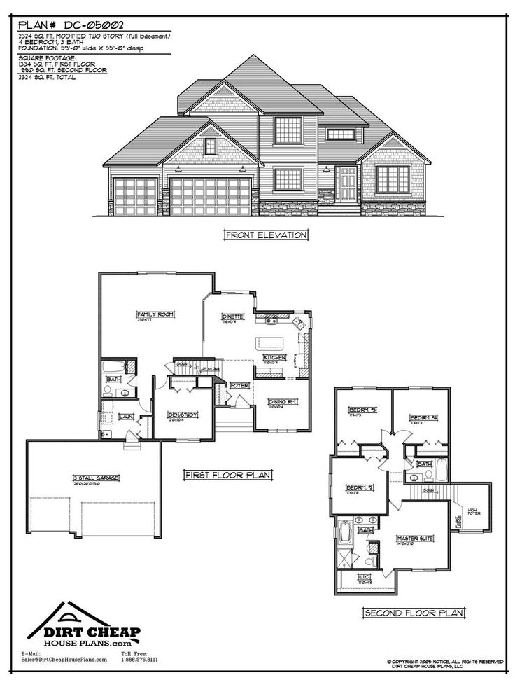 Inexpensive TwoStory House Plans DC05002 Modified Two