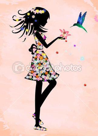 Девушка в платье с цветочным орнаментом — Векторное изображение © astra77light #24036957