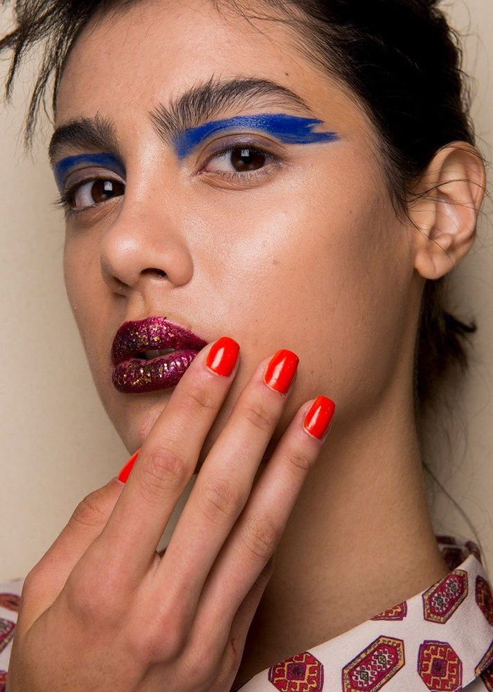 Browse the best nail art ideas from fashion month Spring 2017 at @StyleCaster | Leitmotiv's solid red nails