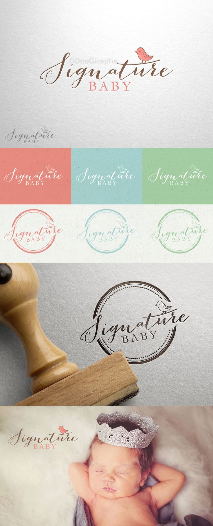 Signature Baby - for SALE!  Order at: onegiraphe@gmail.com Logo ( Black & White - logo variation can be used as watermark, stamp, gold / silver print , car branded , etc ) + Mini Logo / Badge or Signature if need ( Color Variations )  Format files: eps, pdf, png, jpg or any other at request. Customisable Fonts and Colors www.One-Giraphe.com #logo #logodesign #design #brandidentity #needlogo #designer #graphic #graphicdesign #photography #baby #babycompany #bird