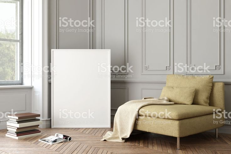 Interieur hipster lege foto poster frame sjabloon royalty free stockfoto