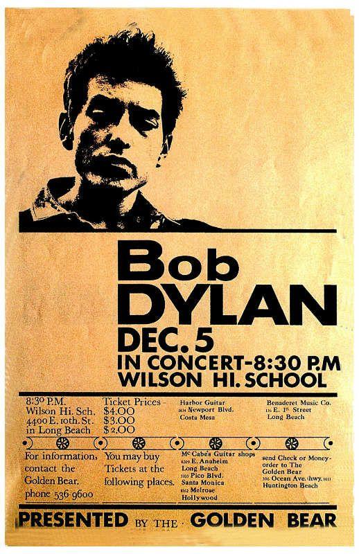 Bob Dylan: Affiche du concert du 5 décembre 1964 à Wilson High-School, Long Beach, California.