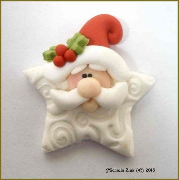 Polymer Clay Star Santa Embellishment Bow por michellesclaybeads: