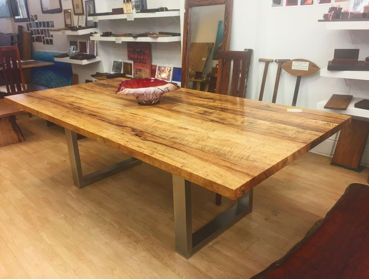 Marri dining table with stainless steel base