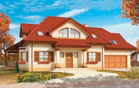 Projekt Rubin to przestronny dom dla 4-6osobowej rodziny, o nietuzinkowej architekturze i ciekawym wnętrzu. Projekt domu posiada nietypowe rozwiązania, jak duże okno w salonie z otwarciem przestrzennym na antresolę na poddaszu, czy narożny zadaszony podcień z tarasem. Te detale dodają projektowi oryginalnego wyrazu. Wnętrze domu jest przemyślane i jednocześnie maksymalnie funkcjonalne.
