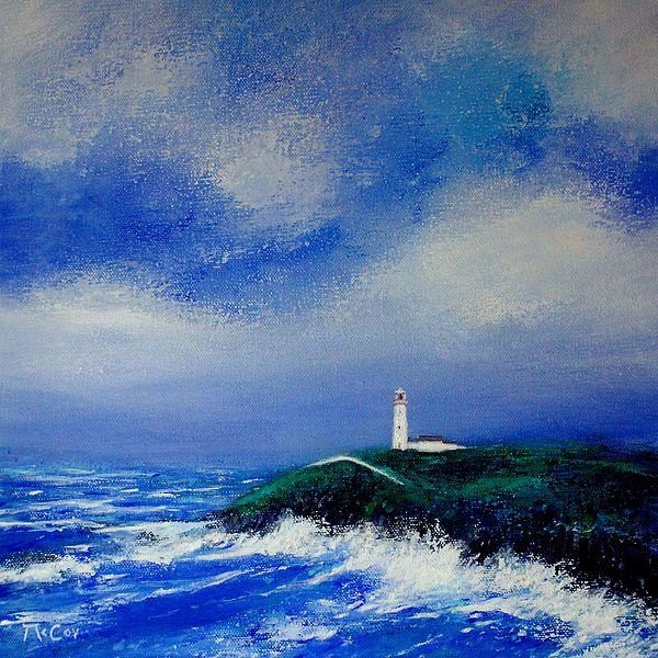 Painting of a Lighthouse on the Wild Atlantic Way in Ireland - Irish Art  - Fine Art Prints