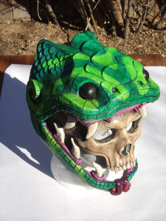 Painted cast resin Snake Skull Mask. by RavenKingRelics on Etsy
