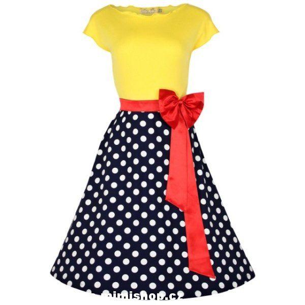 Retro šaty ve stylu 50. let. nádherné šaty v nepřehlédnutelném designu - výrazný žlutý vrchní díl, nadčasový puntík a nádhrená mašle jako třešnička na dortu.