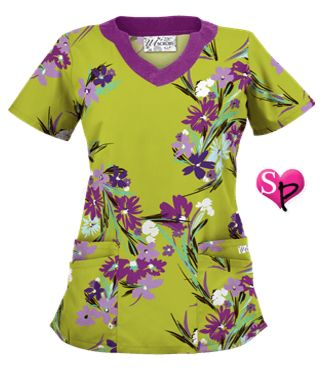 UA Island Bouquet Giddy Green Print Scrub Top Style # UA194BQG #uniformadvantage #adayinscrubs #uascrubs #floral #bouquet #tropical #green #purpletop #sophiespicks