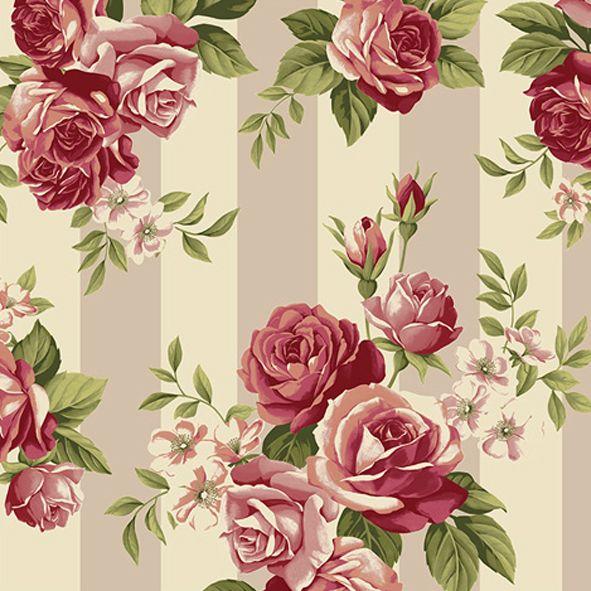 Bavlněná látka Růže vínové na pruzích Rosie's Summer