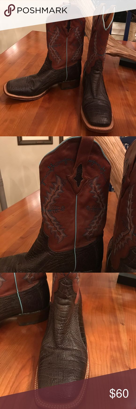 Resistol Women's 8.5 Cowboy Boots Brown/Aqua Gorgeous Resistol Women's square toe cowboy boots.  Size 8.5.  Brown leather shank with Aqua stitching and trim.  I think foot is made from some type of snake skin.  See pic for texture.  Great condition, worn a few times. Resistol Shoes Heeled Boots