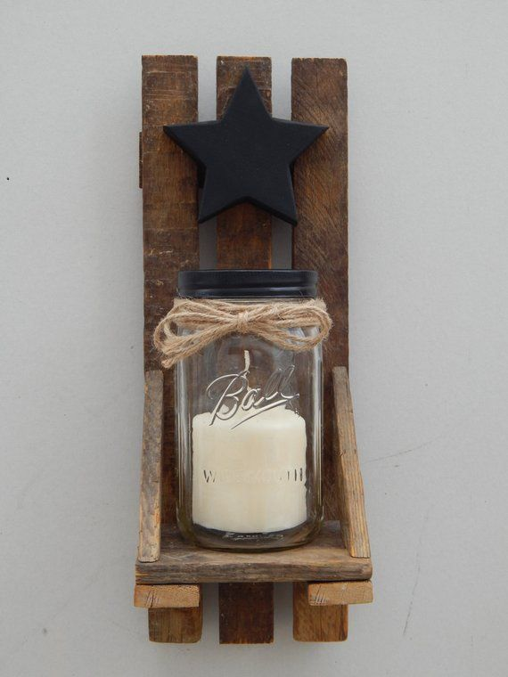 Mason Jar Candle Holder Wall Sconce With Shelf And Star Set Of 2