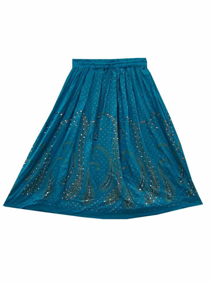 Sequin Rayon Skirt Blue Paisley Print Hand Work Skirts